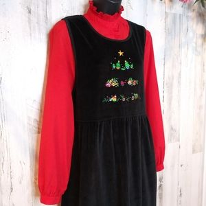 Vintage Christmas Black Emb.Jumper Dress Medium